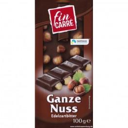 Чёрный шоколад Fin Carre  с цельным фундуком, 100 г